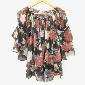 We Are Kindred Size 8 Floral Sheer Ruffle Blouse